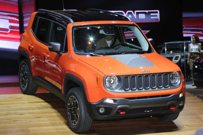 2015 Jeep Renegade Trailhawk show floor on stage Jeep Renegade será fabricado no Brasil
