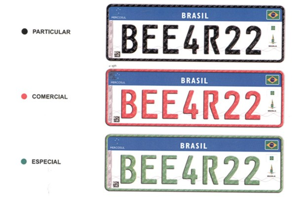 Novas placas do Mercosul